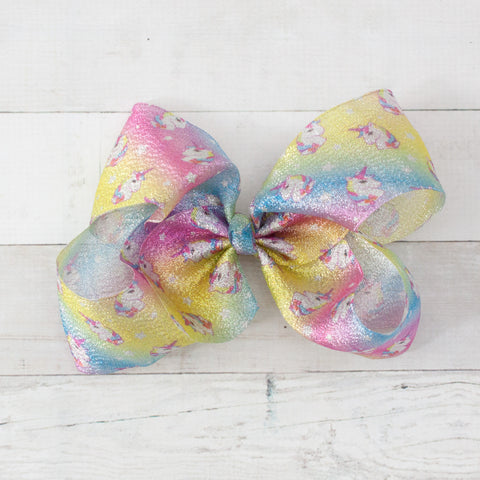"8"" Shiny Unicorn Print Pastel Hair Bow Clip"