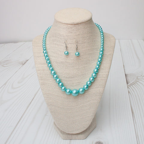 Chunky Pearl Necklace & Earring Set - 10 Color Choices