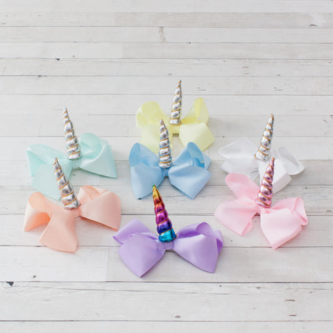 "6"" Unicorn Grosgrain Hair Bow Clip - 7 Colors to Choose From"