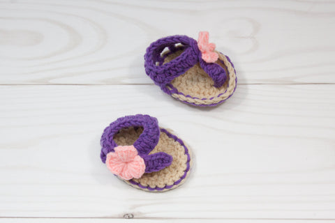 Purple & Tan Crochet Baby Sandals With Pink Flower