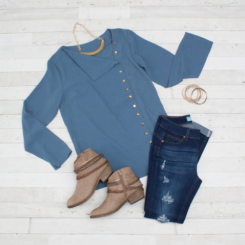 Slate Blue Turn-down Collar Asymmetric Blouse