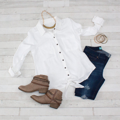 Crushed Linen White Button-Down Casual Shirt