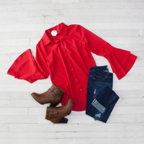 Red Layered Bell Sleeve Button Down Shirt