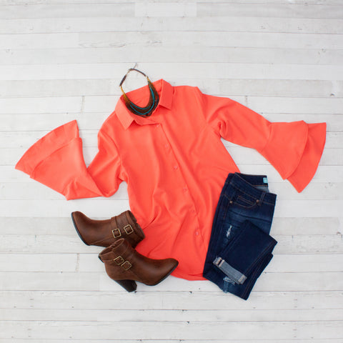 Coral Layered Bell Sleeve Button Down Shirt