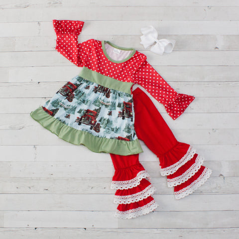 Winter Wonderland Christmas Tree Long Sleeve Pant Set - Top & Pants