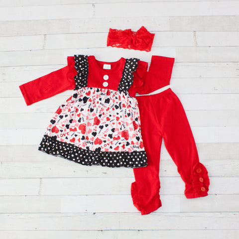 "Lovable - Red & White ""Love"" Top & Pants Set - 2Pc"