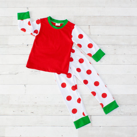 Polka Dot Long Sleeve Pajamas - Top & Pants