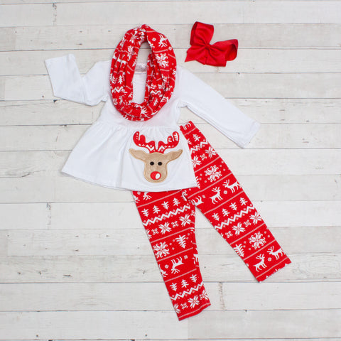 White Long Sleeve Reindeer Top with Red and White Christmas Pants & Matching Scarf