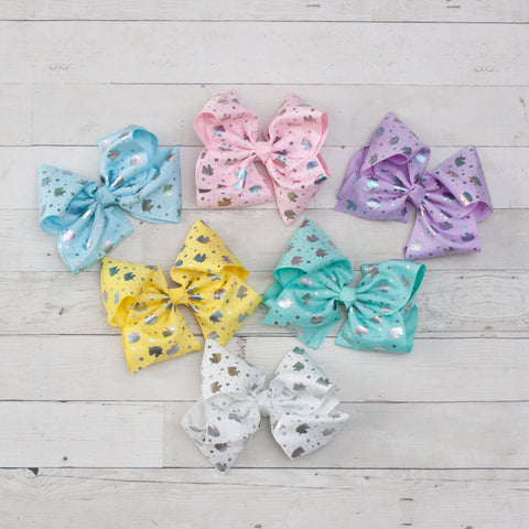 "8"" Silver Unicorn Big Hair Bow Clip - 6 Colors"