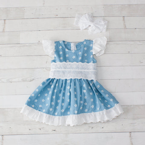 Girls Floral & Dots Lace Trim Dress - Light Blue & White