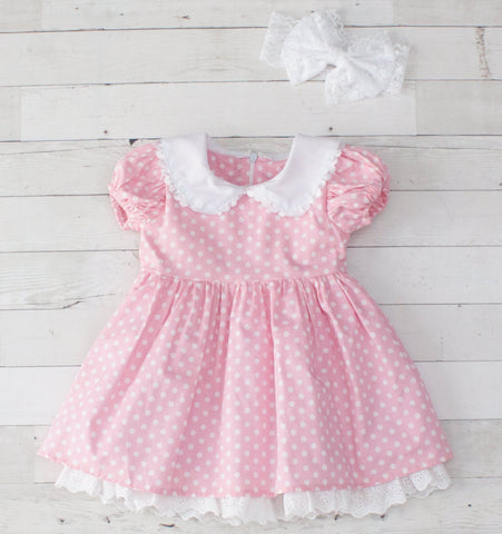 Girls Pink & White Dot Ruffle A-Line Dress with Lace Trim