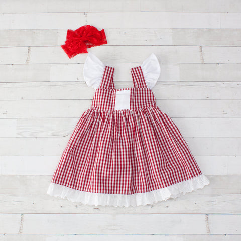 Girls Gingham Angel Sleeve Dress with Lace Trim & Bow