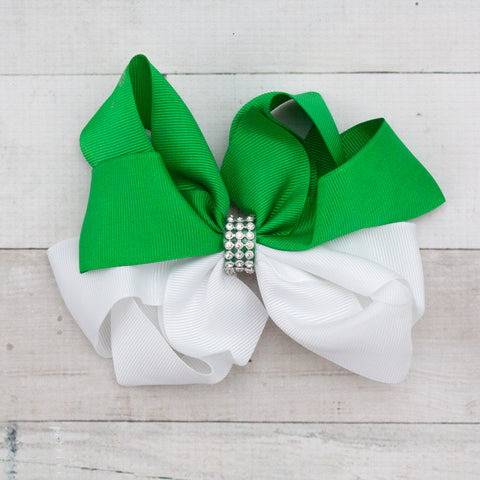"6"" White & Green Rhinestone Center Grosgrain Hair Bow Clips"