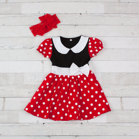 Girls Red with White Dots Character Inspired Dress