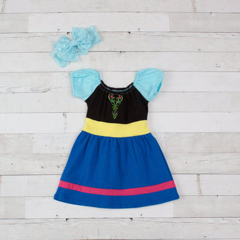 Girls Blue Aqua Yellow Princess Anna Dress