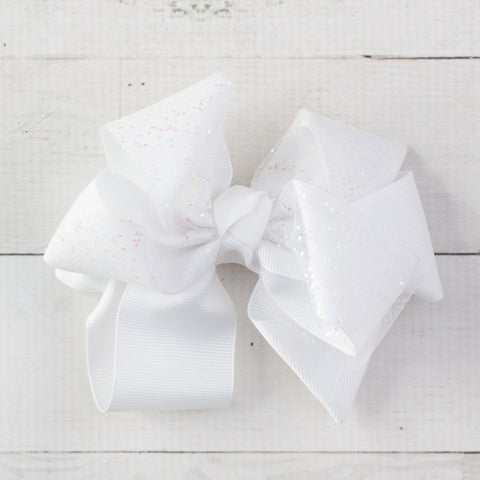 "6"" White Sparkly Grosgrain Hair Bow Clip"