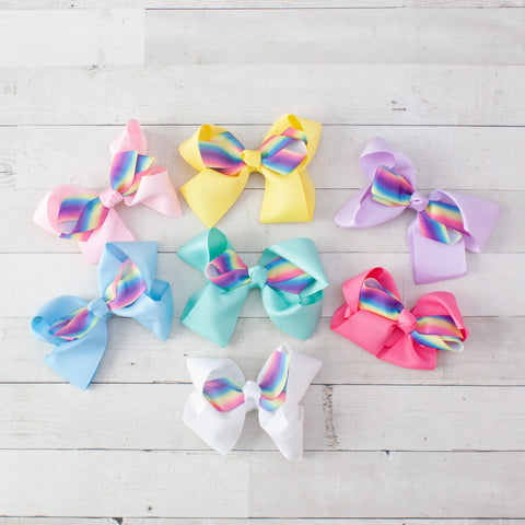 "6"" Rainbow Double Bow Grosgrain Hair Bow Clip - 7 Colors"