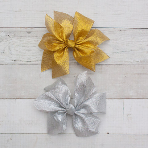 "6"" Organza Pinwheel Hair Bow Clips - 2 Colors"