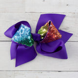 "6"" Rainbow Sequin Center Grosgrain Hair Bow - 7 Bold Colors"
