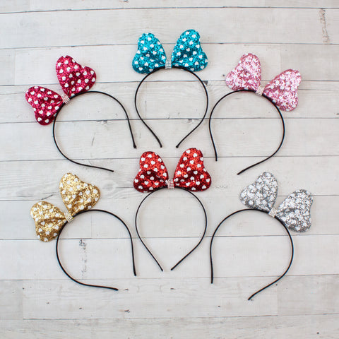 Glitter Heart Minnie Mouse Headband with Rhinestone Center - 6 Colors