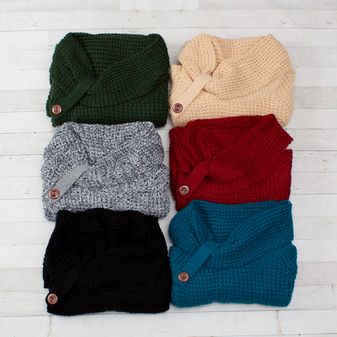 Knit Cowl-Neck Button-Up Cardigan - 6 Colors