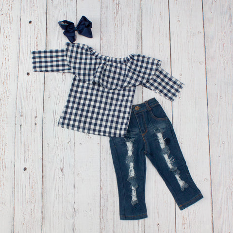 Navy & White Checked Top and Distressed Jeans Outfit