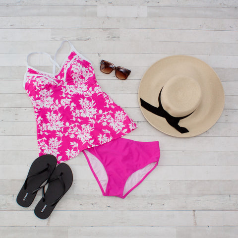 Fuschia & White Floral 2 piece Tankini Swimsuit
