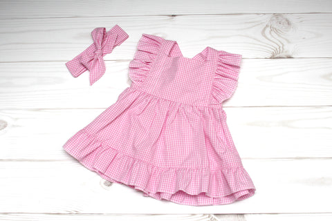 Classic Gingham Sundress with Matching Headband