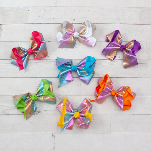 "6"" Grosgrain & Shiny Satin Hair Bow Clip - 7 Colors"