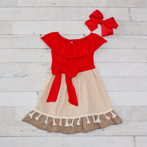 Character Inspired Red & Khaki Moana Dress