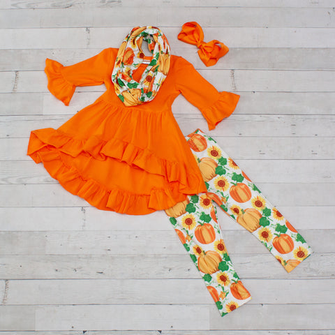 Orange and White High-Low 3 Piece Tunic Set - Top, Pants & Scarf