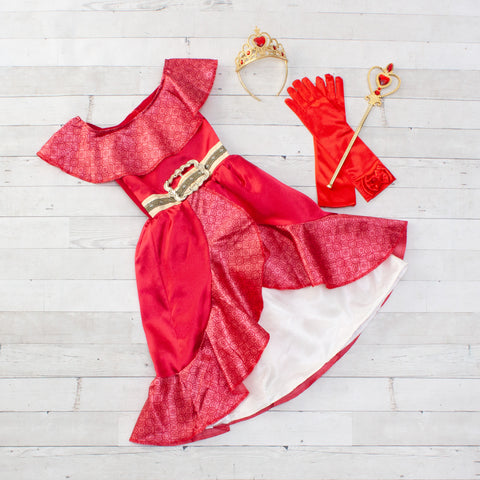 Character Inspired Princess Dress with Accessories - Red, Ivory & Gold