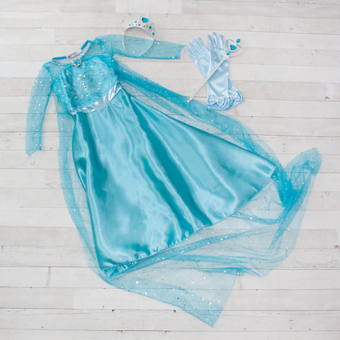 Character Inspired Princess Dress with Accessories - Turquoise & Silver