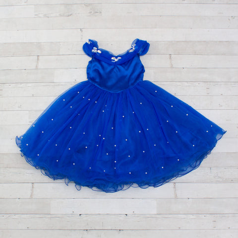 Character Inspired Princess Dress - Royal Blue with Pearls