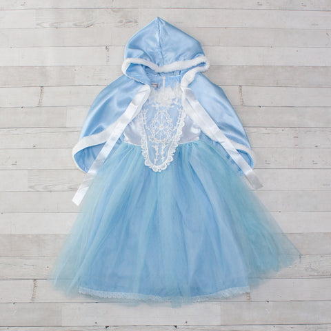 Character Inspired Princess Dress with Cape - Light Blue & White