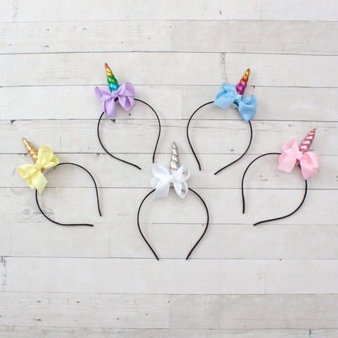 Unicorn Headbands with Pastel Bows - Set of 5