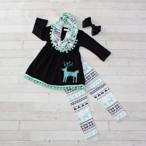 Winter Tribal Reindeer 3pc Set with Fringe A-Line Tunic Set - Top, Pants & Scarf