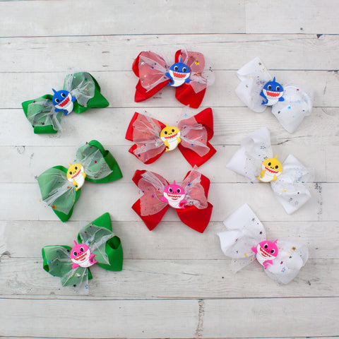 "6"" Grosgrain Hair Bow with Baby Shark Embellishment - 9 options"