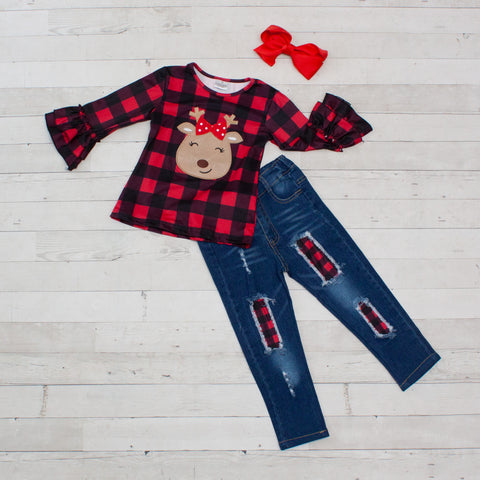 Reindeer Buffalo Plaid Shirt and Denim Pant Set