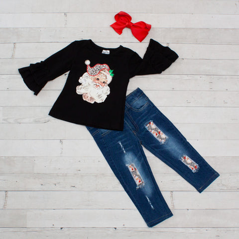 Santa Shirt and Denim Pant Set