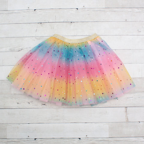 Girls Elastic Rainbow Dance Tutu With Sparkle Stars - 2 Colors