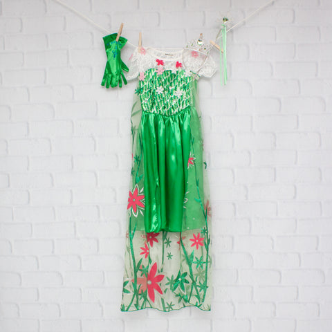 Character Inspired Princess Dress - Green & Pink