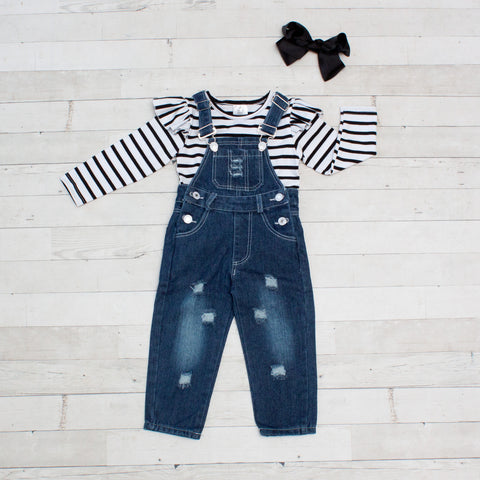 Girls Striped Top and Distressed Overalls Outfit