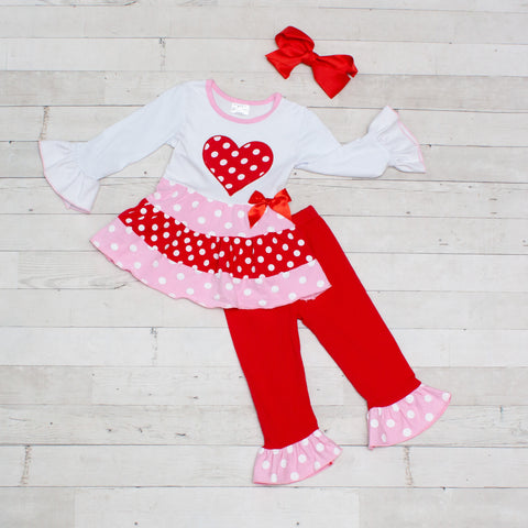 Polka Dot Heart Print Long Sleeve Top & Pants Set- 2 Piece