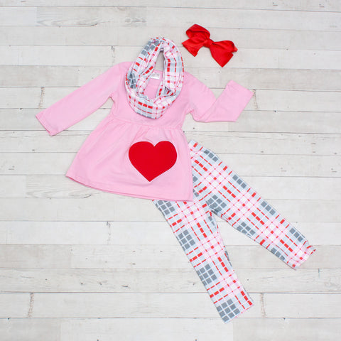 Light Pink and Gray Plaid Girls Outfit - Top, Pants & Scarf