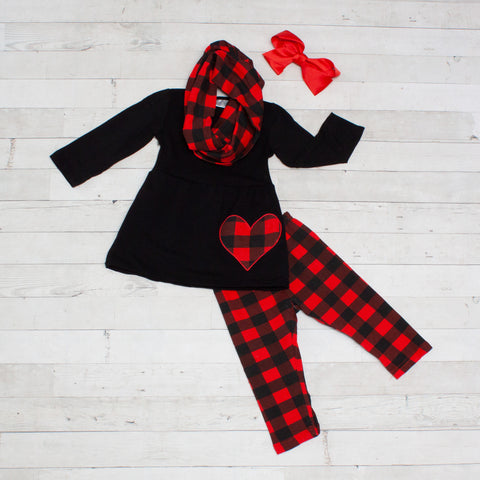 Red and Black Checked Girls Heart Outfit - Top, Pants & Scarf