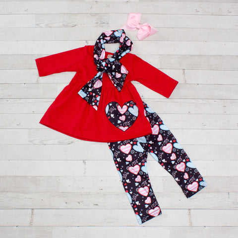 Red and Black Swirly Hearts Girls Outfit - Top, Pants & Scarf