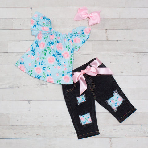 Blue and Pink Floral Top and Denim Capri Set