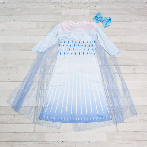 Character Inspired Princess Dress - Sky Blue with Detachable Cape