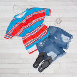 Women's Stripe Henley Tops - 3 Colors